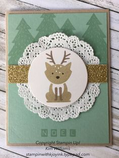 Stampin Up Foxy Friends Reindeer card. Christmas cards that are quick and cute. The gold glimmer paper plays off of the white shimmer paper that that reindeer is stamped on. I love the Labeler Alphabet which is such a versitile all occasion stamp set. Kim Williams, Stampin with Kjoyink, Pink Pineapple Paper Crafts.