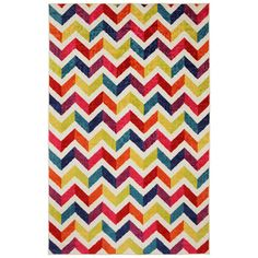 Off-set Chevron Multi Rug (5 x 8) - A stunning rainbow of color this design features a trendy zig zag pattern. The durable materials and construction of this rug make it a must have for years to come. $97.19