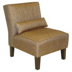 Wood-framed chair with praline-hued upholstery and a complementing pillow. Handmade in the USA.    Product: ChairCons...