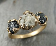 Rough Diamond Engagement Ring Raw 14k Gold Wedding Ring Wedding Set Black and white diamonds Rough Diamond Ring byAngeline