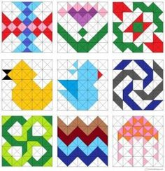 Flowers, birds, jellyfish, pinwheel, and zigzag quilt blocks.- these are all easy HST quilt blocks! Triangle Quilt Pattern, Half Square Triangle Quilts, Pattern Blocks, Square Quilt, Easy Quilt Patterns, Patchwork Patterns, Patchwork Quilting, Quilting Tutorials, Quilting Projects