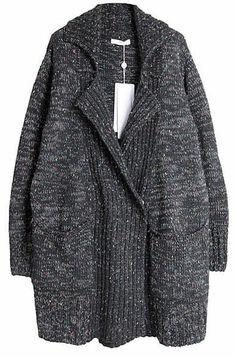 grey lapel cardigan