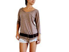 Long sleeves Tee / Pocket Tee / Light Brown Top / Women tunic top / light cotton / Boho Hippie T shirt / Caramel brown shirt S M