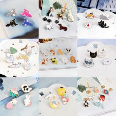 Miss Zoe 2~8pcs/set Cat Dog Hippo Kitten Puppy Totoro Brooch Button Pins Denim Jacket Pin Badge Animal Jewelry Gift for Kids