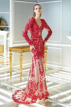 livraison gratuite 2014 nouveau style à manches longues robe de soirée fourreau rouge en dentelle élégante robe de soirée train lae1031 cour