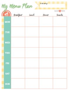 For the busy mother, planning meals for both yourself and the entire family can be a struggle. Courtesy of Bless This Mess Please, here are some basic planning and other tips for saving time and money. Free Calendar Template, Meal Planner Template, Mom Planner, Weekly Meal Planner, Health Breakfast, Breakfast Recipes, Healthy Living Magazine, Led Weaning, Health Snacks