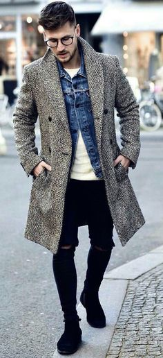 @tommeezjerry - with a fall combo idea with an awesome herringbone gray white topcoat denim jacket white shirt ripped black denim skinny jeans black suede chelsea boots #fallfashion #falloutfits #menswear #menstyle #mensapparel #denimjacket #herringbone #topocat #boots #mensfashion