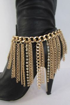 "Fashion Boot Multi Chains Fringes There Are 2 Colors To Choose From You Are Buying One Boot Bracelet - One Side Only Condition: Brand new Color: Gold / Silver Size: One size 11""-13"" long Size: One Siz"