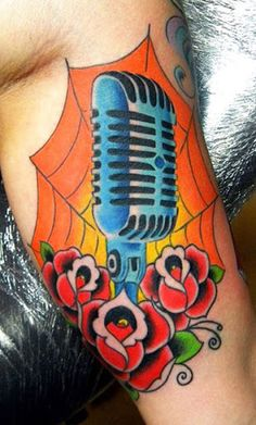 microphone tattoos designs traditional old microphone rose tattoo tattoos pinterest. Black Bedroom Furniture Sets. Home Design Ideas