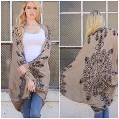 Oversized Slouchy Sweater Cocoon Shawl Cardigan Gorgeous light weight  henna print kimono cardigan . Perfect for layering and with denim for dresses. One size NWOT . Please comment for personal listing do not buy this listing . Colors - Mocha and black and wine only   . 100% polyester lightweight scarf shawl kimono . Vivacouture Sweaters Cardigans
