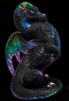 Emperor Dragon - Black Violet Peacock. Airbrushed and Handpainted Fantasy Figurine, Statue. $344.00 #dragon #fantasyart #figurine