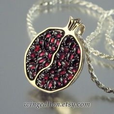 JUICY POMEGRANATE bronze and silver garnet pendant - Found it! If only it weren't $360