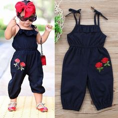 Buy Toddler Kids Baby Girls Strap Flower Romper Jumpsuit Playsuit Outfit Clothes at Wish - Shopping Made Fun Fashion Kids, Baby Girl Fashion, Toddler Fashion, Toddler Outfits, Boy Outfits, Womens Fashion, Fashion Trends, Frocks For Girls, Kids Frocks