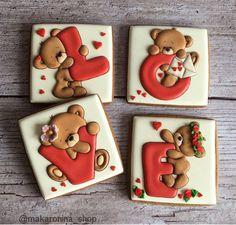Valentine's Day Sugar Cookies, Bear Cookies, Fancy Cookies, Iced Cookies, Valentines Day Cookies, Valentine Cookies, Cookie Icing, Royal Icing Cookies, Cookie Cutters