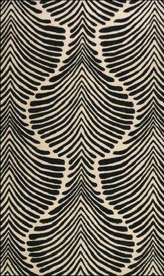 Hokanson black white striped art deco rug