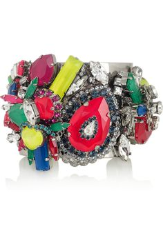 ERICKSON BEAMON  Colour Me Crazy silver-plated Swarovski crystal cuff