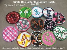 Iron On or Sew On - 1 Letter MONOGRAM  PATCH - 2 Sizes - Choose Fabric and Thread Color, Curlz Font,Style 16 Patch, Ready to Ship 1-2 Days #personalizedpatches #newbaby #babyshower #monogrampatches #1letterpatch #cutemonogrampatches #cutepatches
