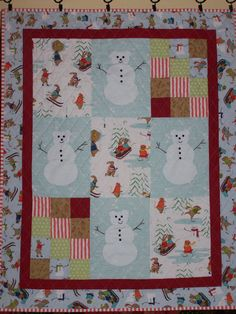Snowmen Wall Hanging Quilt for Winter Christmas by BusyHandsQuilts Sticky Roller, Traditional Quilt Patterns, Homemade Quilts, Colorful Quilts, Quilted Wall Hangings, Hand Quilting, Winter Christmas, Quilt Making