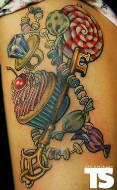 i need this tattoo! Candy Key Tattoo by Key Tattoos, Sweet Tattoos, Girly Tattoos, Time Tattoos, Pretty Tattoos, Tattoo You, Body Art Tattoos, Wicked Tattoos, Tatoos