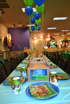 DJ's Birthday Table Decor - The Good Dinosaur Theme Chucky Cheese Birthday Party, Chuck E Cheese Birthday, 1st Birthday Party Themes, Cheese Party, Dinosaur Birthday Party, 4th Birthday, Birthday Table, Dinosaur Party Decorations, The Good Dinosaur