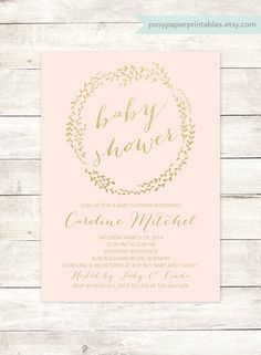 pink gold baby shower invitation printable wreath blush pink gold glitter shower baby girl digital invite customizable