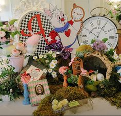 Alice in wonderland theme party entry way table