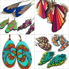 bright colors, energetic abstract designs on handmade jewlery by Erin Inglis