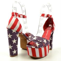 Jeffrey Campbell Womens El Carmen Blue Red Stars Stripes Platform Sandals