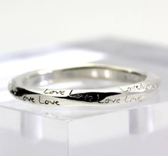 """Engraved Cursive """"Love"""" Lightly Twisted Ring Band in Sterling Silver size 8.75 #Band"""