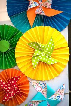 Maker Fun Factory VBS idea - Alphabet + Pinwheels Birthday Party via Kara's Party Ideas : Decorations Abc Birthday Parties, Abc Party, Party Themes, Party Ideas, Pinwheel Decorations, Paper Decorations, Birthday Decorations, Paper Rosettes, Paper Flowers