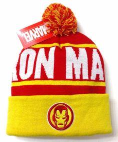 New IRON MAN POM BEANIE Red/Yellow/White Marquee Winter Knit Ski Hat Men/Women #Marvel #Beanie