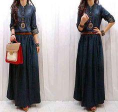 Maxi Dress Jeans+Belt (Kode: S138) Online dan Murah - http://www.butikjingga.com/maxi-dress-jeans-belt-kode-s138