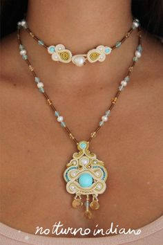 handmade soutache necklace with turquoise and di notturnoindiano