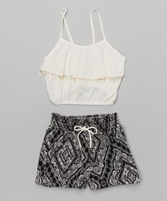 Look at this White Fringe Top & Black Geometric Shorts - Toddler & Girls on #zulily today!