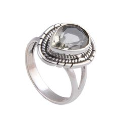 925 Pure Silver Original Green Amethyst Cut Stone 4.81g Ring. #Ring