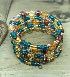 Teal Blue and Yellow Memory Wire Wrap Bracelet Yellow Czech