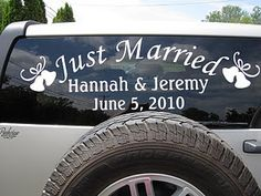wedding car vinyl this is such a good idea and looks so much better than messy paint or soap on the windows...