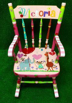 Personlaized Kids Rocker Custom Painted Rocking Chair for Children Kids Rocker Personalized Childs Rocking Chair Rocker for Kids Custom Painted Kids Chairs, Painted Rocking Chairs, Whimsical Painted Furniture, Painted Stools, Hand Painted Furniture, Ikea Furniture, Furniture Outlet, Repurposed Furniture, Discount Furniture