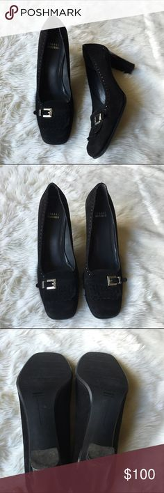 "Stuart weitzman suede loafer heels Sz 10.5 suede Stuart weitzman buckle fringe loafer heels. Approx 3"" heel. Excellent gently worn condition with some scuffs on heel as Photo'd. Stuart Weitzman Shoes Heels"