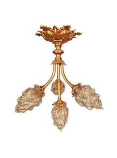 French Antique Bronze 4 Arm Chandelier, Plated in Gold