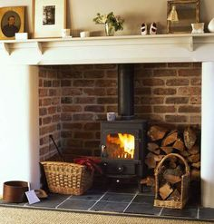 New Photo Brick Fireplace log burner Ideas 47 Awesome Small Fireplace Makeover Decoration Ideas – nicolette news Brick Fireplace Log Burner, Cottage Fireplace, Inglenook Fireplace, Small Fireplace, Fireplace Design, Fireplace Ideas, Fireplace Mantel, White Fireplace, Wood Stove Hearth