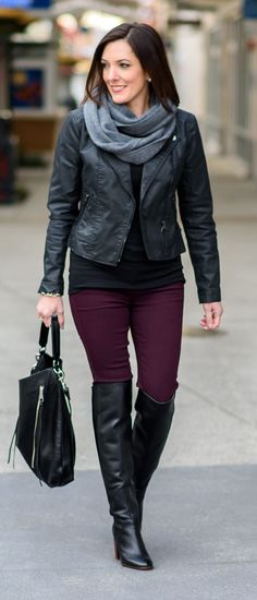Jo-Lynne Shane wearing burgundy skinnies with over the knee boots, moto jacket, and infinity scarf. | Moto Jacket | Fall Outfit | Fall Fashion | jolynneshane.com