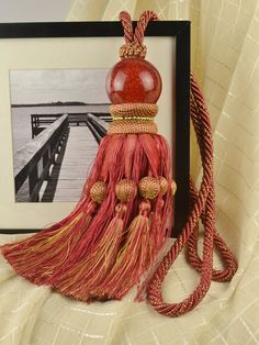 3 Colors QYM12 Faux Silk and Acrylic Curtain Tassel Tie Backs in Red Color
