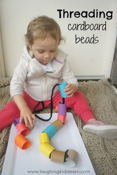 Threading activity for toddlers using large cardboard beads. great fun activity for fine motor skills and development of fine motor skills. Fun activity for moms to prepare at home. #threadingactivity #toddlerfun #toddleractivity #toddlerplay #finemotor #finemotorskills #activitiesfortoddlers #toddleractivities #basicplayideas #funathome #learnathome #learnwithplay #sensoryplay #sensoryplay #childcare #childcareactivities Toddler Learning Activities, Games For Toddlers, Motor Activities, Indoor Activities, Sensory Activities, Infant Activities, Toddler Preschool, Kids Learning, Parenting Toddlers
