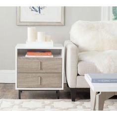 Safavieh Kefton White, Oak, Black Lacquer Storage Cabinet