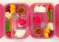 11062014 - mango, melon, pomegranate, amaranth fritter w/ ketchup, babybel cheese, yoghurt, carrot, cherry tomato, cucumber, sunflower seeds