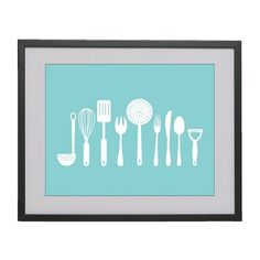 11x14 Kitchen Tools digital modern art print in ocean by bellabyte, $19.99