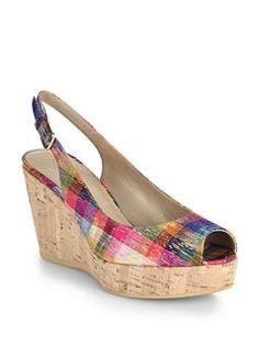 Stuart Weitzman - Jean Metallic Plaid Cork-Wedge Sandals