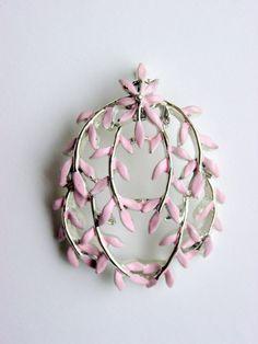 Vintage Pink Leaf Pendant signed Kramer by SomeLittleStars, $18.00