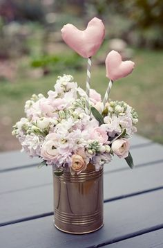 Centerpiece Flowers in a Can - or mason jar, spray paint can or jar with wedding colors